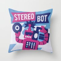 Stereo Bot Throw Pillow