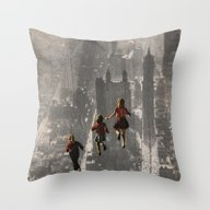 Throw Pillow featuring RUN THE TOWN by Beth Hoeckel Collage…