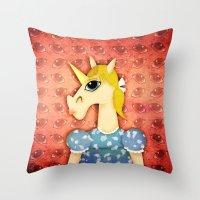 Big Eyes Unicorn Throw Pillow