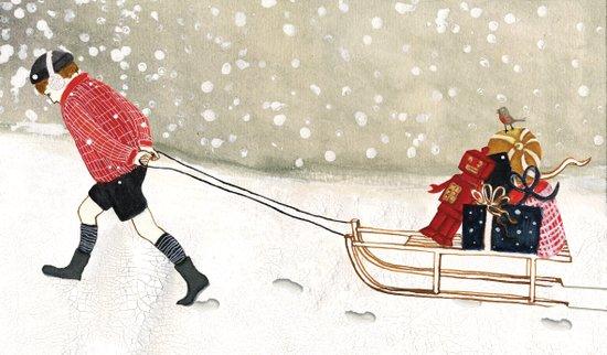 Boy with sledge Art Print