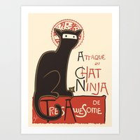 french Art Prints featuring A French Ninja Cat (Le Chat Ninja) by Kyle Walters