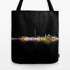 Toronto Skyline At Night From Centre Island Reflection Tote Bag