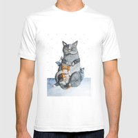 Cat family Mens Fitted Tee White SMALL