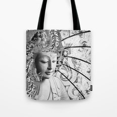 Bliss of Being - Black and White Buddha Art Tote Bag