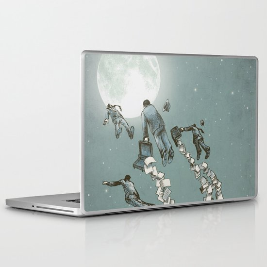 Flight of the Salary Men (color option) Laptop & iPad Skin