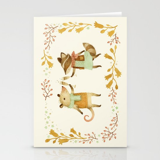Cheers! From Pinknose the Opossum & Riley the Raccoon Stationery Card