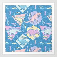 Nineties Dinosaurs Pattern  - Pastel version Art Print