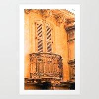 Maltese Balcony - watercolour Art Print