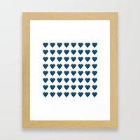 64 Hearts Navy Framed Art Print