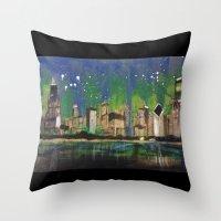 Chicago Night Throw Pillow