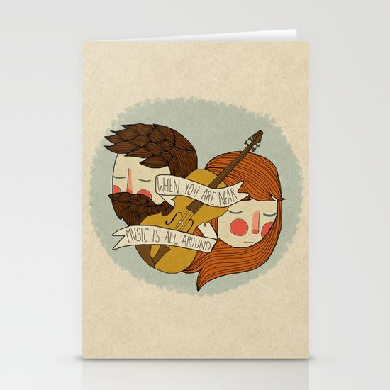 Music Is All Around Stationery Card