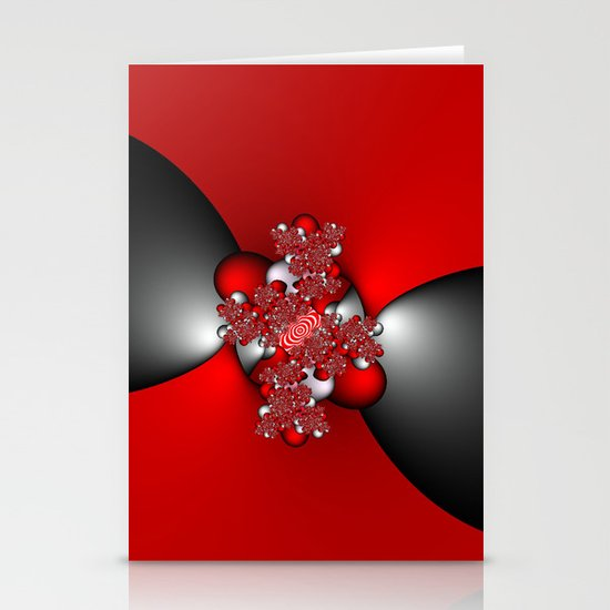 Red and Silver and Black Stationery Card