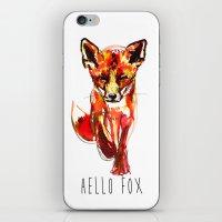 Cute Little Red Fox Wate… iPhone & iPod Skin