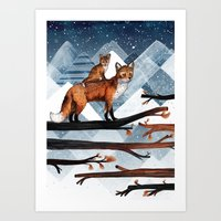 Fox Wood Art Print