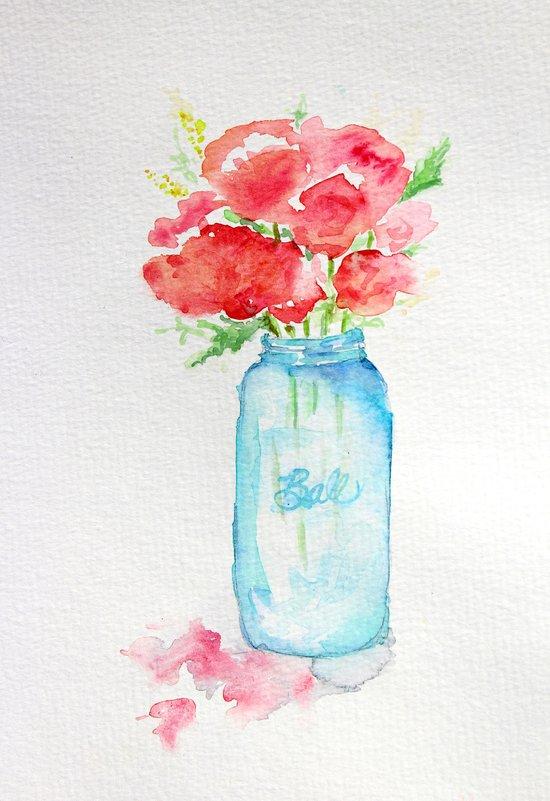 Ball Jar Watercolor Art Print By Craftberrybush Society6