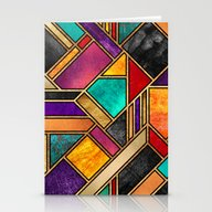 Colorful City Night Stationery Cards