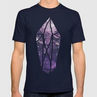 Amethyst Gem Dreams Mens Fitted Tee Navy SMALL