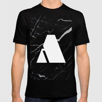 Black Marble - Alphabet A Mens Fitted Tee Black SMALL