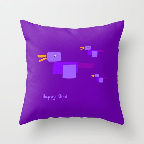 Happy Bird-Purple Throw Pillow