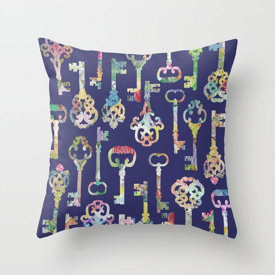 Keyes Decorative Pillow : Rainbow Keys Throw Pillow by Elephant Trunk Studio Society6