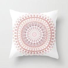 Red Brown White Mandala Throw Pillow