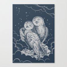 Owls dark night Canvas Print