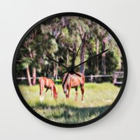 Horse And Foal Feeding I… Wall Clock