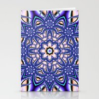 Kaleidoscope flower in purple, pink, blue and salmon. Stationery Cards