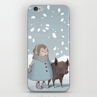 Pig in snow iPhone & iPod Skin