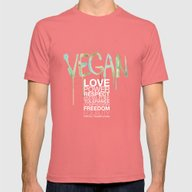 VEGAN Mens Fitted Tee Pomegranate SMALL