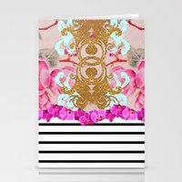 Fashion Girly Pink Vintage Floral Trendy Stripes Pattern Stationery Cards