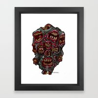 Heads of the Living Dead Zombies: Many Mouth Zombie Framed Art Print