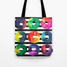 Watercolor stripes and circles Tote Bag