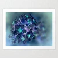 FLOWERS -Blue Blossoms Art Print