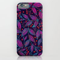 iPhone & iPod Case featuring RED BERRIES PINK LEAVES by Wagner Campelo