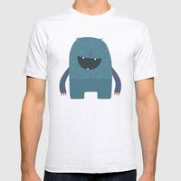 BLUE MONSTER Mens Fitted Tee Ash Grey SMALL