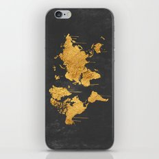 Gold World Map iPhone & iPod Skin