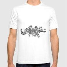 alligator White Mens Fitted Tee SMALL