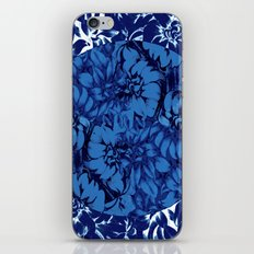blue floral circle on blue floral iPhone & iPod Skin