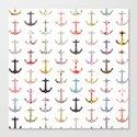 Vintage retro sailor girly floral nautical anchors Canvas Print