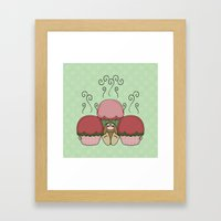 Cute Monster With Red And Green Frosted Cupcakes Framed Art Print
