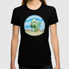 Cthulhu At Play Watercolor/Pen&ink Womens Fitted Tee Black SMALL