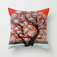 Snowy Old Tree Throw Pillow