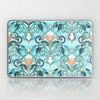Ocean Aqua Art Nouveau Pattern with Peach Flowers Laptop & iPad Skin