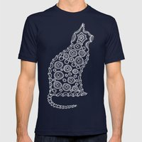 Cat Zendoodle Design Mens Fitted Tee Navy SMALL