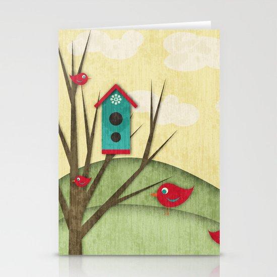 Shabby Sweet Tweet On The Hillside Stationery Card