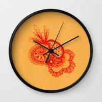 Red Arabesque Wall Clock