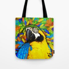 Gold and Blue Macaw Parrot Fantasy Tote Bag