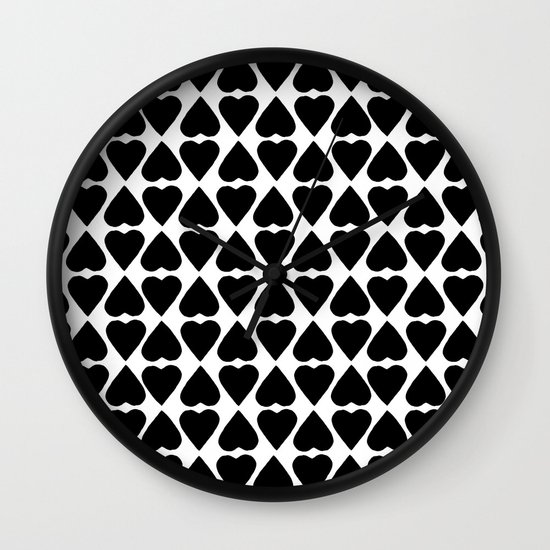 Diamond Hearts Repeat Black Wall Clock