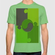 Puzzle Yin Yang Mens Fitted Tee Grass X-LARGE